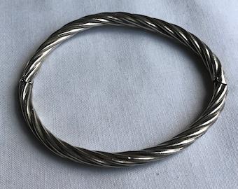 Vintage Sterling Silver Hinged Twist Bracelet