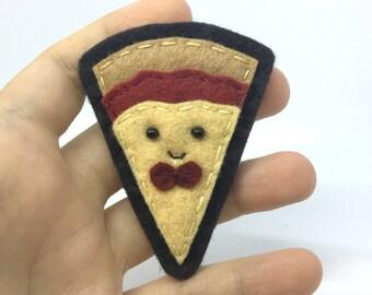 Pizza Guy Hand Sewn Wool Felt Pin