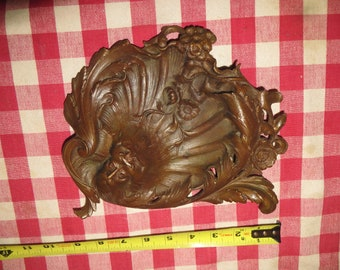 Red Bronze Sculpture Pin Vanity Tray With Mans Face. Art Nouveau,