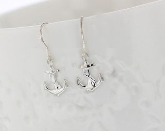 Sterling Silver Anchor Dangle Earrings, Anchor, Silver, Dangle, Beach, Ocean, Nautical, Resort, Vacation Tiny