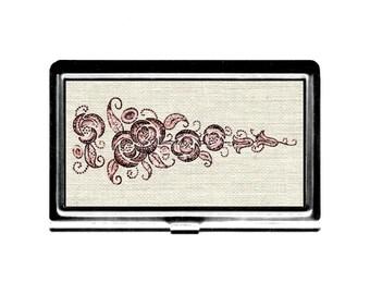 Business Card holder Case Vintage embrodeiry design Mauve Roses flower image Credit Card Holder stainless steel case wallet