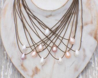 teardrop freshwater pearl / handspun rope necklace / waterproof / kid-proof / life-proof / bohemian / gypsy / tula blue