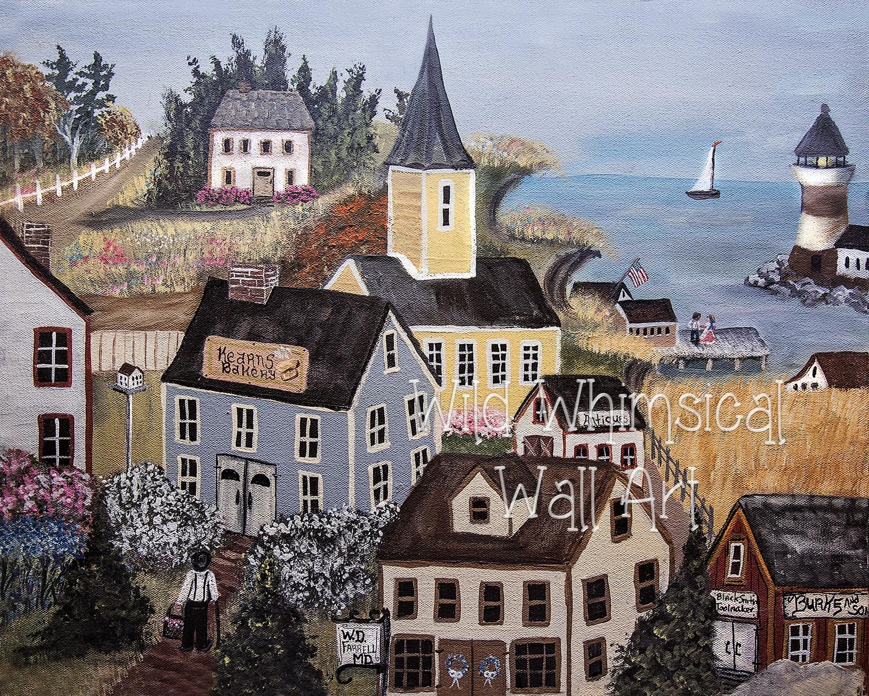 American Folk Art Print New England Seaside Village Print