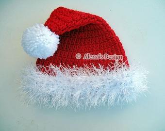 Santa Hat Crochet Pattern 096 All Sizes Baby Toddler Children Teen Adult  Red White Blue Winter Hat Pom-Pom Christmas Gift Decoration