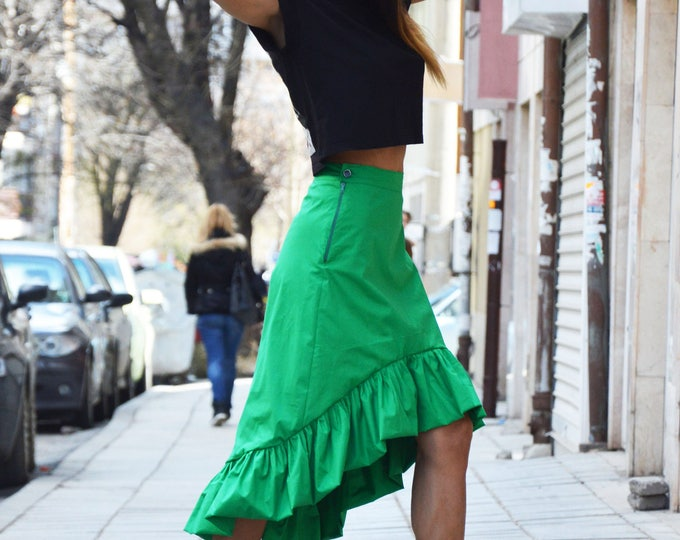 Green Cotton Skirt, Asymmetric Long Short Skirt, Oversize Skirt, Extravagant High Waisted Skirt, Plus Size Clothing by SSDfasion