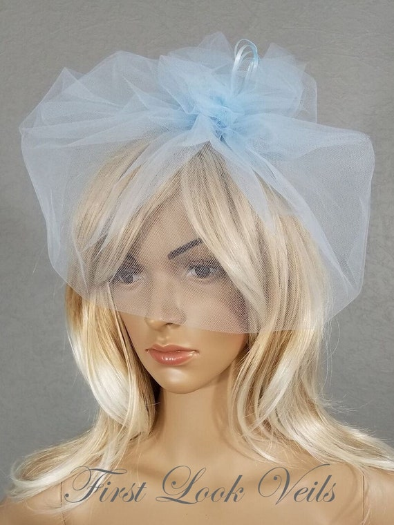 Birdcage Bridal Veil, Wedding Veil, Bridal Veil, Blue, Light Blue, Veil, Bridal Accessory, Cage Veil, Bride, Accessory, Gift