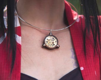 Unique wooden, OOAK, steampunk pendant