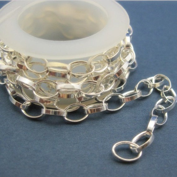Sterling Silver Chain Unfinished Bulk Rolo Chain Chunky