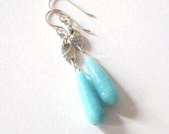 Amazonite Long Briolette Drop Earrings, Palm Leaf Fine Silver Links, Sterling Silver Ear Wire Options