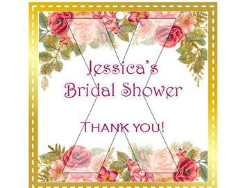 Bridal Shower Favor Tags  - Pink Floral PF2