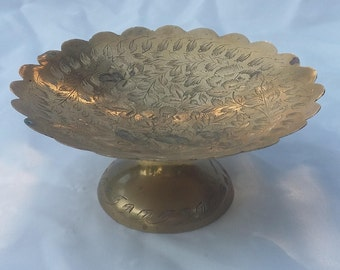 Standing Brass Trinket Tray Small Decorative Etched Bowl
