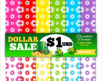 DOLLAR SALE! Instant Download - Flowers Digital Scrapbook Paper, Printable Flowers, Flowers Background. PK_DP502