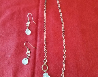funky vintage sterling and sea glass necklace and earrings