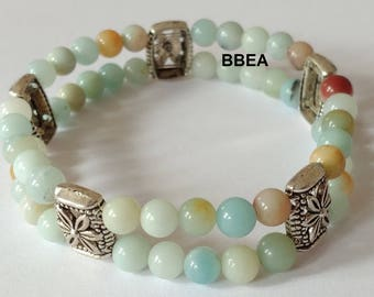 Bracelet double amazonite releases guilt, 6 mm beads and Tibet silver separations.