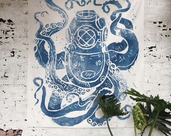 Deep Sea wall tapestry - custom made for our home decor collection, featuring diver helmet octopus, kraken in indigo blue ink, nautical