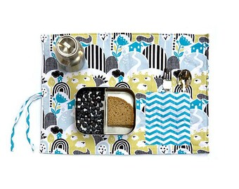 Chevron placemat. Organic place mat in turquoise, lime green and black. Gift for kids with sheeps.