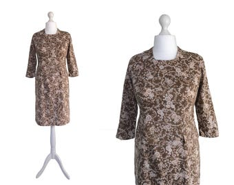 1960's Dress | Brown Vintage Dress | Sheath Dress | UK 14 Dress | Brown Print Dress | Fitted Dress With Front Peplum