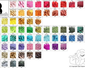 8 Inch Zippers (10) Pieces YKK Mix and Match- choose from 65 light, bright, bold, neutral colors
