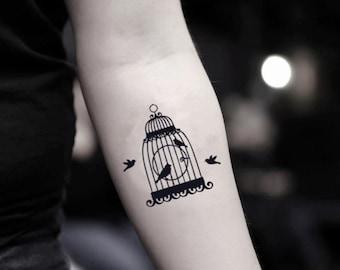 Bird Cage Temporary Fake Tattoo Sticker (Set of 2)