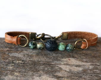 African Turquoise Leather Essential Oil Diffuser Bracelet - Turquoise Aromatheraphy Bracelet - Lava Bead DiffuserJewelry  Lava Rock Bracelet
