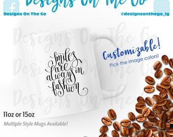 Coffee Mug, Smiles in fashion, Inspirational, Sizes Vary, Travel Tumbler, Glass, Ceramic, Foil, Pink Gold Silver Metallic, Latte, Black