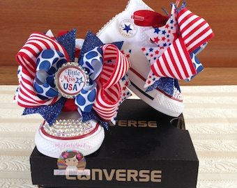 Little Miss America shoes,Fourth of July, Miss America Custom Bling Shoe,Bling  Shoes