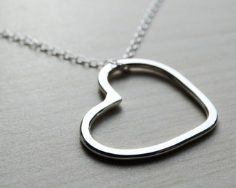Silver Open Heart Necklace - Sterling Silver
