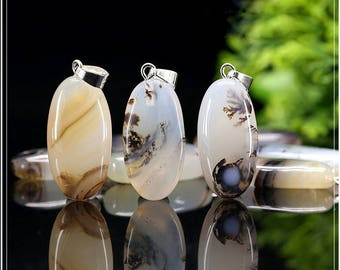 Oval Shape Natural Ocean Landscape Agate Semi Precious Stone Pendant Beads - DY00228