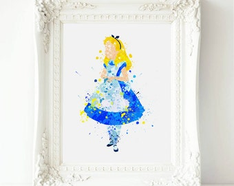 Alice in Wonderland Watercolor print, Alice in Wonderland Printable Art Print Watercolor ,Wonderland Watercolor art, Wonderland  print art
