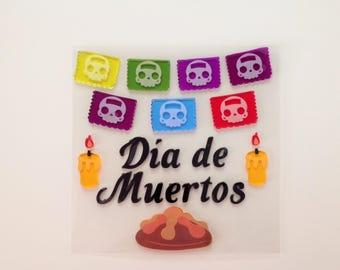 Day of the Dead Gel Clings Gel Window Sticker Decor Decoration Dia de los Muertos Halloween Gel Clings Altar de Muertos
