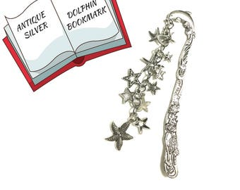 Starfish Antique Silver Bookmark, Dolphin and Starfish Bookmark, Book Lovers Gift, Book Readers Gift, Bookworm gift, Great Keepsake