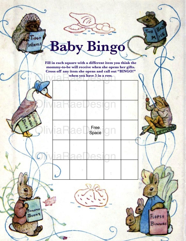Beatrix Potter Peter Rabbit Baby Shower Bingo