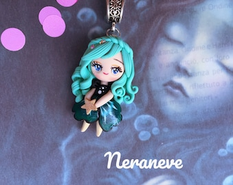 Sweet doll completely handmade pendant necklace