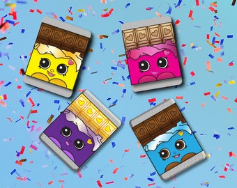 Cheeky Chocolate Miniature Wrappers - Shopkins Birthday Party