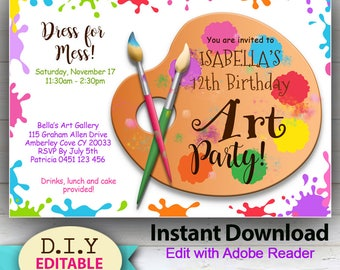 Pottery party invite etsy editable art or painting diy party invitation bright and colorful instant download stopboris Choice Image