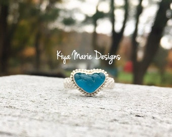 Sea Glass Heart Ring, engagement ring, bezel set in fine & argentium silver, Spanish sea glass, rare, Eco friendly, beach ocean jewelry,wome