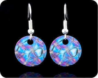 Biology Earrings - Rose earrings - Science jewellery - Rose stem section by polarised light microscopy - Gift for a scientist- pink earrings