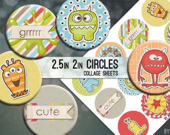 Colorful Monsters Digital Collage Sheet 2.5 Inch and 2in Circle Download Printable Images for Gift Tags Cards Scrapbooking JPG