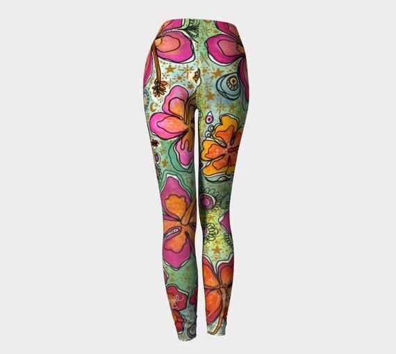 Hawaii Style Tropical Hibiscus Surf SUP Yoga Leggings or Capri Pants Surf Art by Lauren Tannehill Art