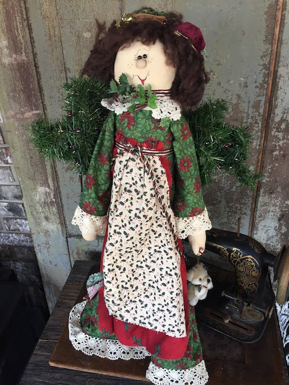 """OOAK Handmade - 25"""" Christmas Girl Doll - Holly - Sparkles N Spirit"""