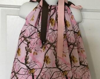 Real Tree Pink Camo Pillowcase Dress Size 6m
