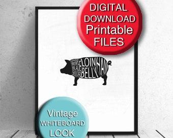 Printable Meat Cuts Print Printable Butcher Cuts Poster Pig Pork 5x7 8x10 11x14 A4 A3 16x20