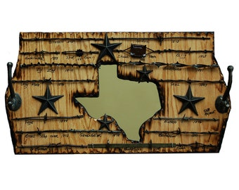 New Item!  Texas Coat Rack with Barbed Wire and a Mirror