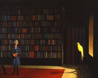Bibliothek by Franz Sedlacek Home Decor Wall Decor Giclee Art Print Poster A4 A3 A2 Large FLAT RATE SHIPPING