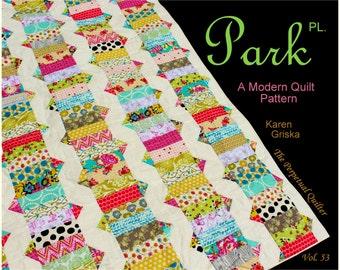 "Modern Quilt Pattern, Park Place Quilt Pattern, XL Twin Size Quilt Pattern, 61"" x 82"" Dorm Size Quilt"