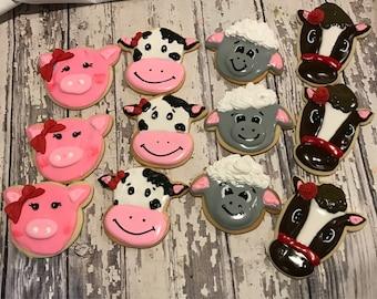 Barn farm pig horse cow and lamb sheep party favor cookies Kosher - Handmade - 1 Dozen