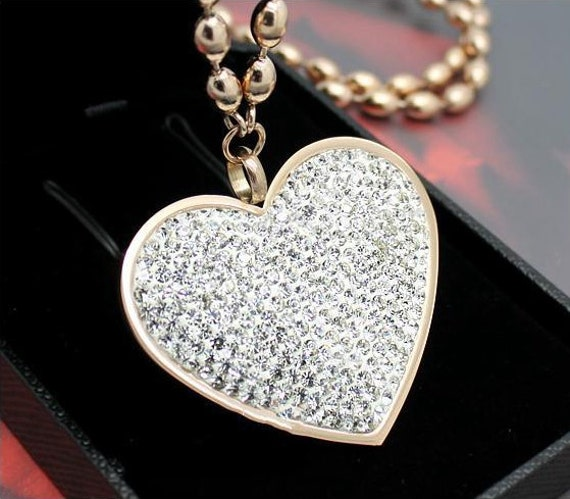 Cz pave heart womens stainless steel pendant necklace iced out rose cz pave heart womens stainless steel pendant necklace iced out rose gold heart pendant cubic zirconia heart beads chain swarovski heart from makecharms on mozeypictures Gallery