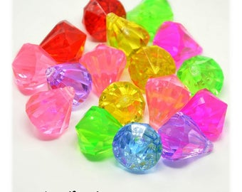 Pendants acrylic diamonds 24 x 18 mm [Drops] multicolor x 1