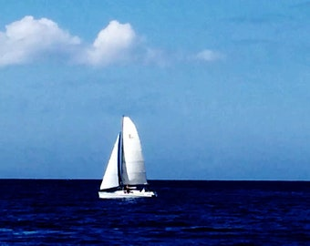 "Digital photo Hawaii landscape ""sailboat & blue ""----Apa Gallery Artwork"