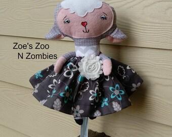Handmade Fabric Dress Up Lamb Softie Cloth Doll